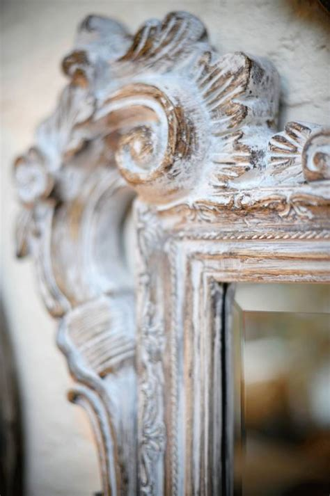 large white wash carved wood effect mirror  hand crafted