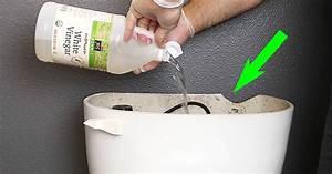 he pours white vinegar inside his toilet tank now