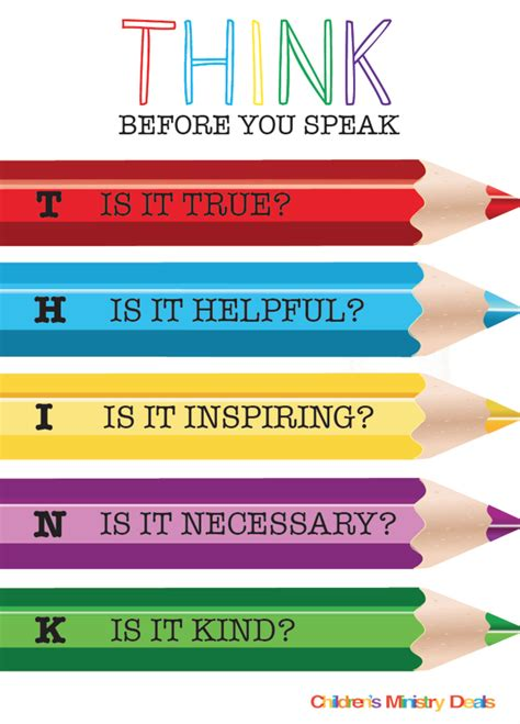 Free Think Before You Speak Poster  Children's Ministry Deals