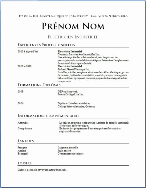 Cv Exemple Simple by Curriculum Vitae Francais Exemple Simple Cv De Travail
