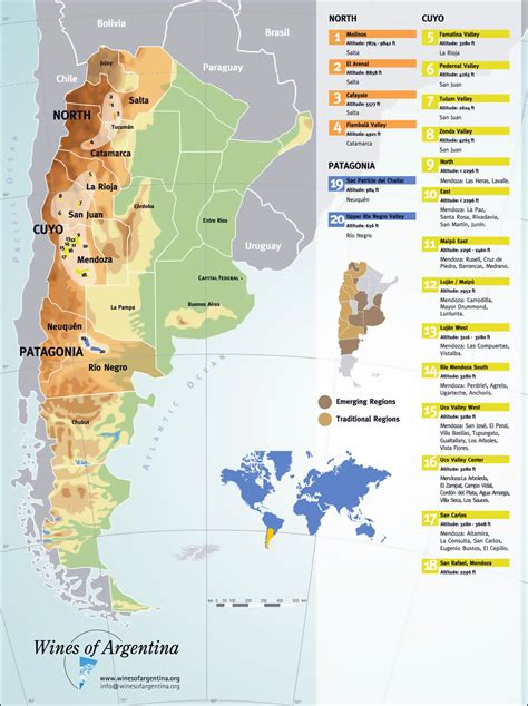 large detailed wine regions map  argentina argentina
