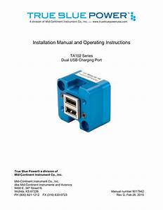 Installation Manual And Operating Instructions Ta102