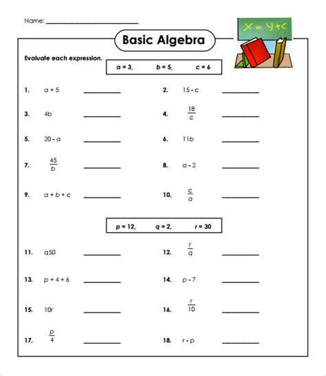 13 simple algebra worksheet templates word pdf free