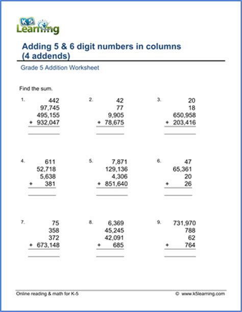 5 digits addition with decimals new free grade 5 math worksheets pages