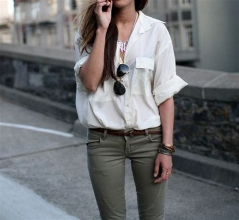 Jeans white top shirt kahki green oversized rolled sleeves skinny jeans army green ...