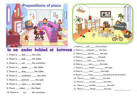 prepositions of place worksheet free esl printable