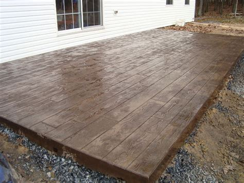 wood deck concrete patio home design ideas