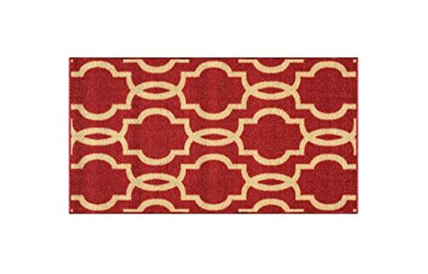 """Rubber Backed Mat 18"""" X 32"""" Fancy Moroccan Trellis Red"""