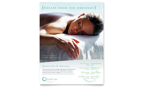 day spa resort flyer template design