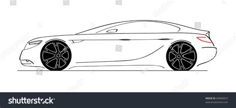 Luxury Car Side View Sketch Car Stock Vector 60940873