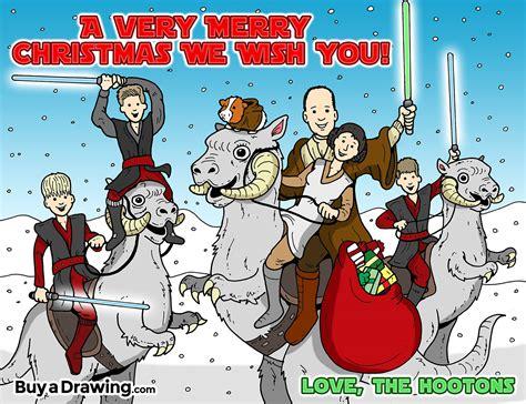 Star Wars Christmas Card Custom Cartoon Drawing
