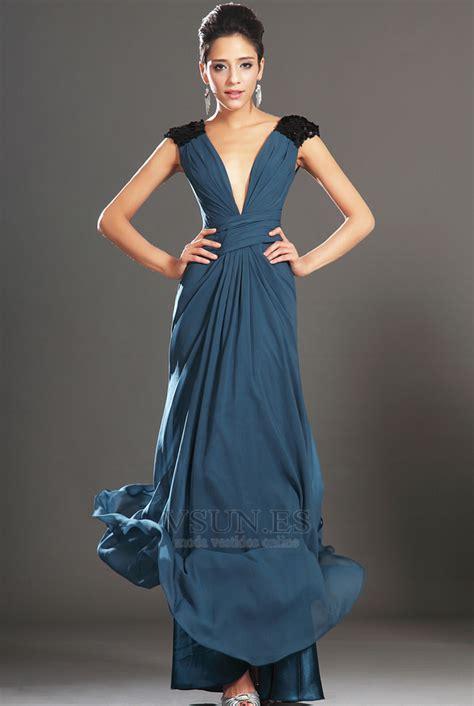 vestido de noche largo gasa sin mangas espalda descubierta