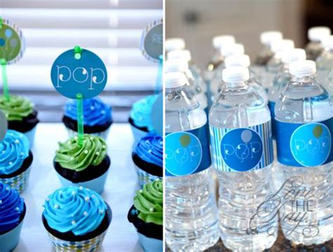 Baby Shower Blue And Green Decorations - kara s ideas quot ready to pop quot blue green baby shower