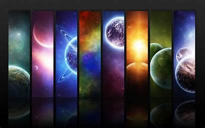 Space Planet Colorful Panels Desktop Wallpapers Background