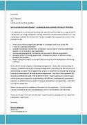 Covering Letter CV For Learning Development Specialist Training Officer Cover Letter Example Cover Letter Example For A Project Manager Self Learning Product Manager Cover Letter Examples Marketing Cover