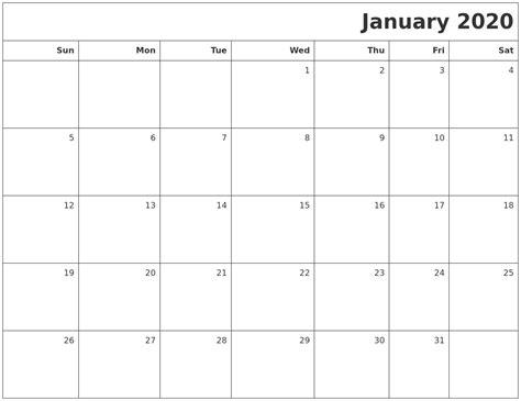 january printable blank calendar
