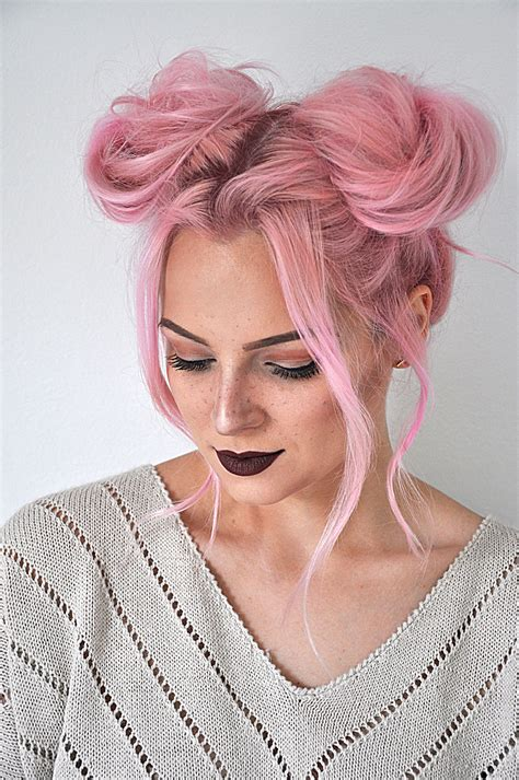 quick  easy space buns hairstyle tutorial mayalamode