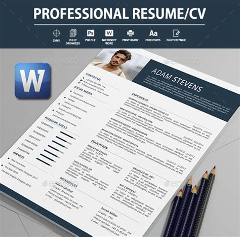 Cv Professionnel Word by Professional Cv Template Word Free 50 Free Microsoft