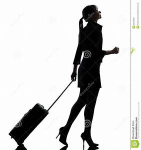 Business Woman Traveling Walking Silhouette Royalty Free ...