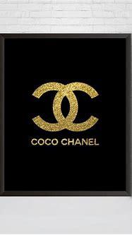 Coco Chanel Logo Print Gold Glitter Chanel Wall Art | Etsy