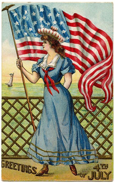 vintage patriotic image   july sailor girl