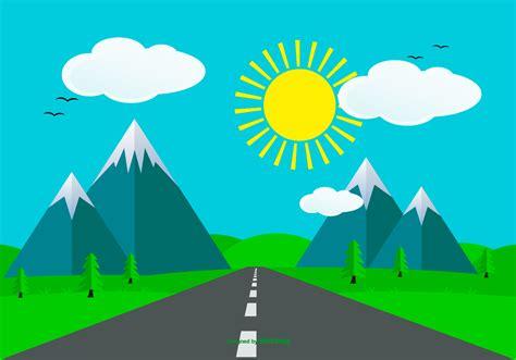 cute flat style landscape scene   vectors