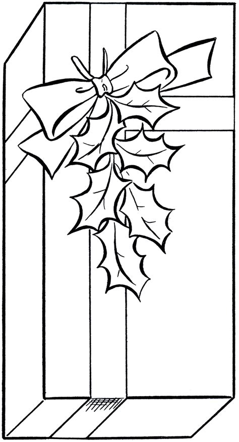 holiday gift clip art image coloring page