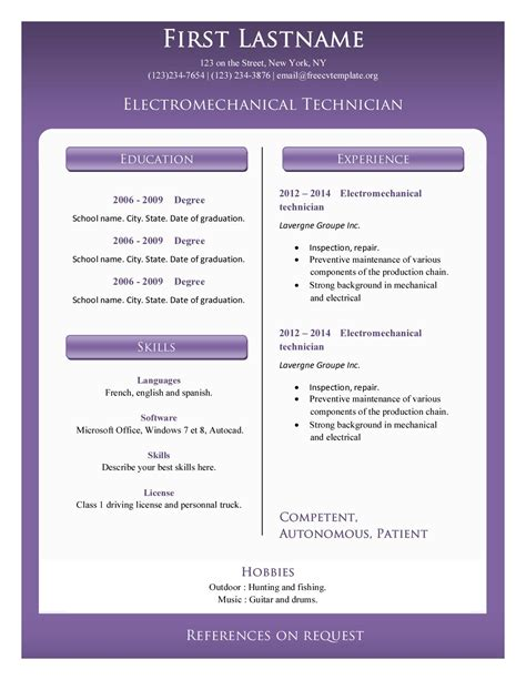 resume cv templates 374 to 379 free cv template dot org
