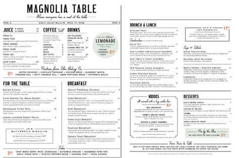 Restaurant Table Menu by Chip And Joanna Gaines Magnolia Table Restaurant Now Open