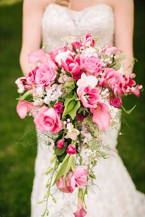 stunning cascading wedding bouquets deer pearl flowers