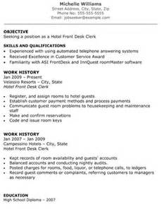 Hotel Front Office Resume Objective by Hotel Front Desk Clerk Resume Front Desk Resume Exles By Williams