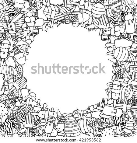square background  uncolored doodle nautical