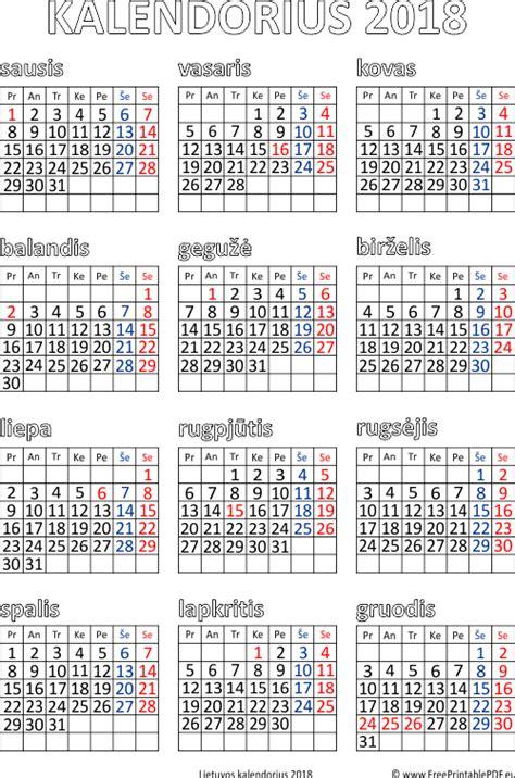 kalendorius   calendar printable