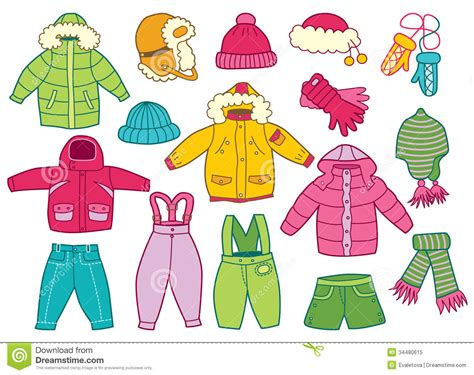 Collection Of Winter Children's Clothing Stock Vector