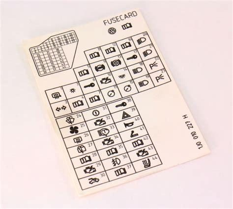 fuse diagram key card   vw jetta golf mk genuine