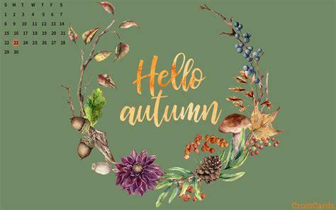 September 2019 - Hello Autumn Desktop Calendar- Free September Wallpaper