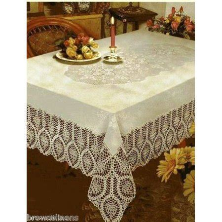 "CROCHET LACE VINYL TABLECLOTH, VINTAGE LOOK, 60"" X 90"