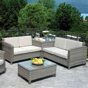 Set divanetti professionali Tropea 2 divani + angolare + poltrona tavolino rattan sintetico