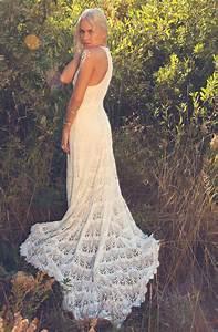 Crochet lace racer back wedding dress onewedcom for Crochet lace wedding dress