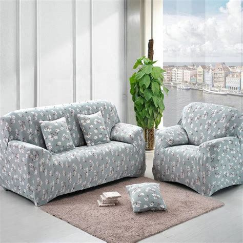 Printed Slipcovers by Sofa Cover Blue Flower Printed Slipcovers On The Sofa