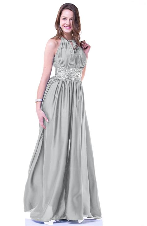 Platinum Glamorous Halter Sleeveless Chiffon-Satin Ribbon ...