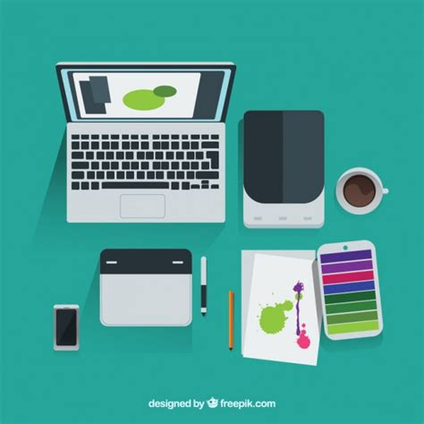graphic design tools graphic designer tools in top view vector free