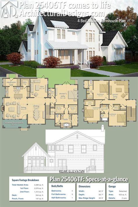 Plan 25406TF: 4 Bed Modern Farmhouse Plan Modern