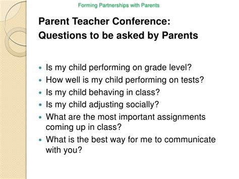 questions to ask at parent teacher conference preschool a presentation forming partnership with parents for slidecast 982