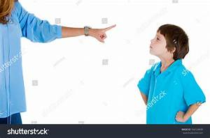Closeup Portrait Of Parent Pointing At Child In Blue Shirt ...