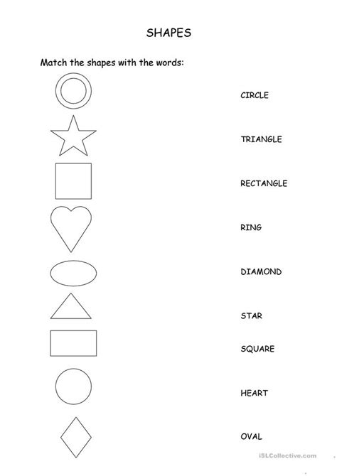 match  shapes   words worksheet  esl