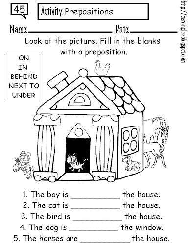 preposition coloring worksheet english fichas de