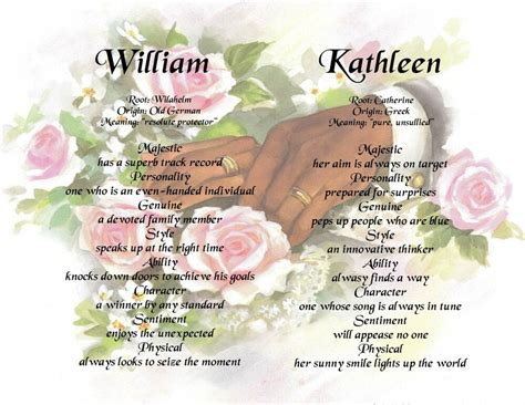 personalized name meaning choice of wedding or engagement background ebay