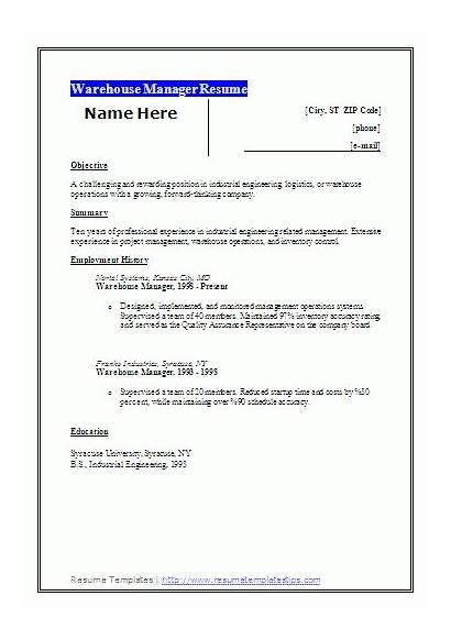 Warehouse Manager Resume Templates Template Wordstemplates Job
