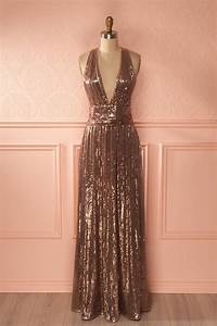 lucila gold sequin gown sequins and gowns With robe rose gold